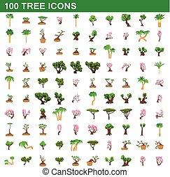 100 tree icons set, cartoon style