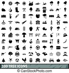 100 tree icons set, simple style
