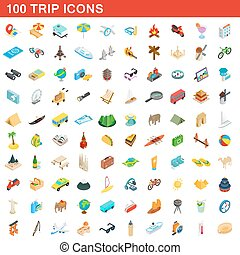 100 trip icons set, isometric 3d style