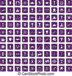 100 trophy and awards icons set grunge purple