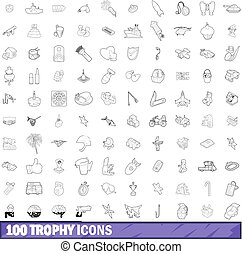 100 trophy icons set, outline style - 100 trophy icons set ...