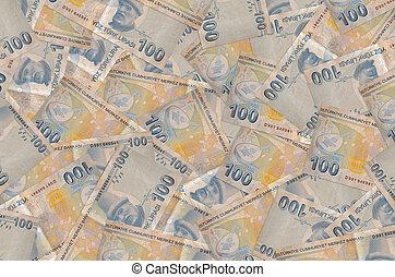 100 Turkish liras bills lies in big pile. Rich life conceptual background. Big amount of money