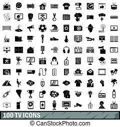 100 TV icons set, simple style