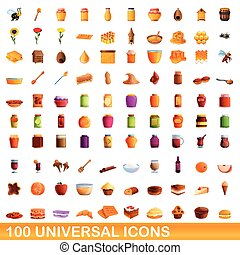100 universal icons set, cartoon style