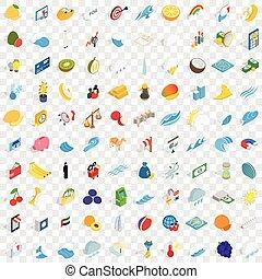 100 universal icons set, isometric 3d style