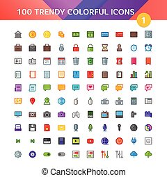 100 Universal Material Icons set 1
