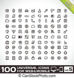 100 Universal Outline Icons Set 5