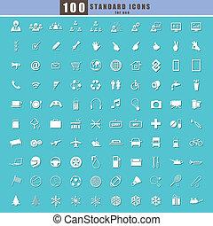 100 Universal Standard Icons vector