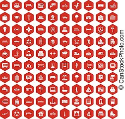100 urban icons hexagon red - 100 urban icons set in red...