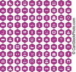 100 urban icons hexagon violet - 100 urban icons set in...