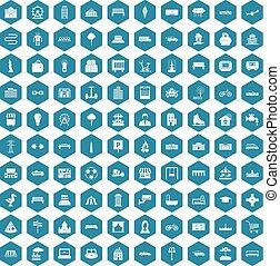 100 urban icons sapphirine violet - 100 urban icons set in...