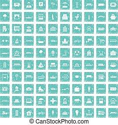 100 urban icons set grunge blue - 100 urban icons set in...