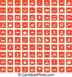 100 urban icons set grunge orange - 100 urban icons set in...