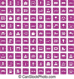 100 urban icons set grunge pink - 100 urban icons set in...