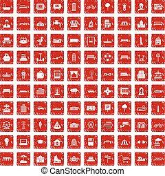 100 urban icons set grunge red - 100 urban icons set in...