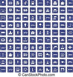 100 urban icons set grunge sapphire - 100 urban icons set in...