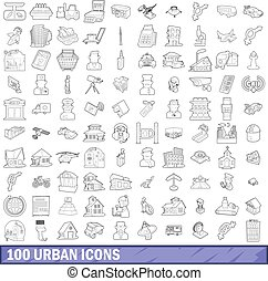 100 urban icons set, outline style