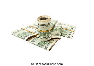 100 US dollar isolated on white background