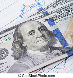 100 USA dollars banknote over stock market chart - studio shoot - 1 to 1 ratio