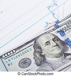 100 USA dollars banknote over stock market chart - studio shot - 1 to 1 ratio