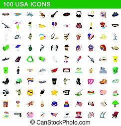 100 usa icons set, cartoon style