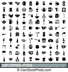 100 utensil icons set, simple style