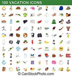 100 vacation icons set, cartoon style