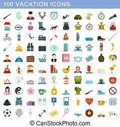 100 vacation icons set, flat style