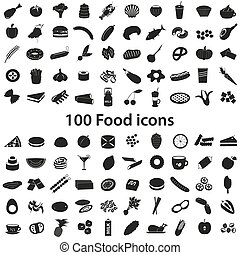 100 various food and drink black icons set eps10
