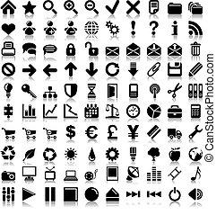 100, vecteur, icons.