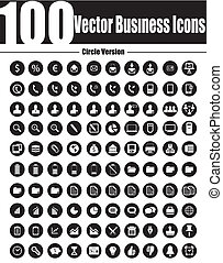100 Vector Business Icons Circle Ve