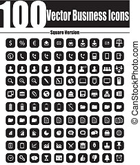 100 Vector Business Icons Square Ve