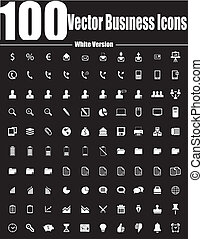 100 Vector Business Icons White Ver