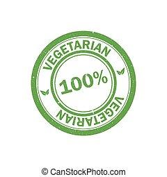 100%, vegan, stamp., vector, logo., vegetariër, pictogram