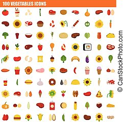 100 vegetables icon set, flat style - 100 vegetables icon...