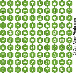 100 vegetables icons hexagon green - 100 vegetables icons...