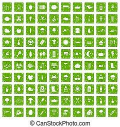 100 vegetables icons set grunge green