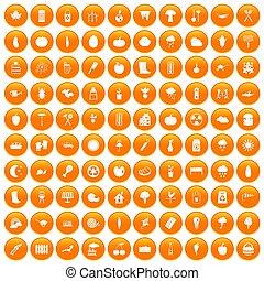 100 vegetables icons set orange