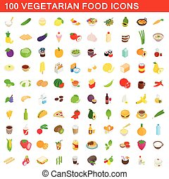 100 vegetarian food icons set, isometric 3d style