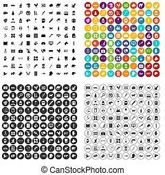 100 veterinary icons set variant