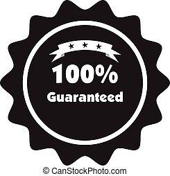 100%, vettore, guaranteed, segno