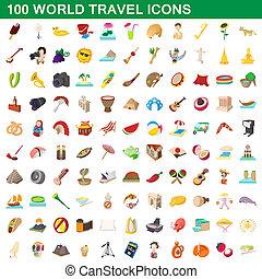 100, viagem mundial, estilo, caricatura, jogo, ícones
