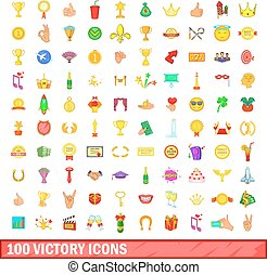 100 victory icons set, cartoon style - 100 victory icons set...