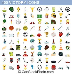 100 victory icons set, flat style
