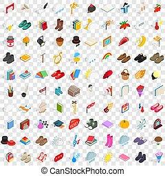 100, viejo, iconos, conjunto, isométrico, 3d, estilo
