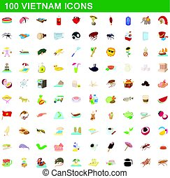 100 vietnam icons set, cartoon style