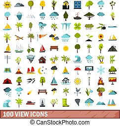 100 view icons set, flat style