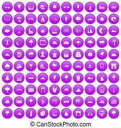 100 view icons set purple