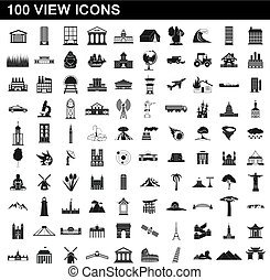 100 view icons set, simple style