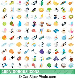 100 vigorous icons set, isometric 3d style